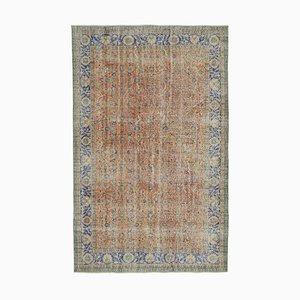 Oranger Handgeknüpfter Orientalischer Vintage Teppich