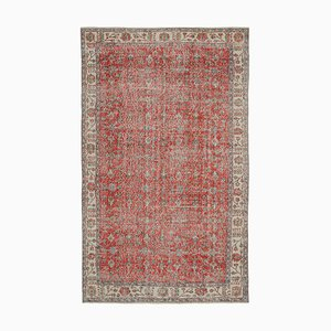 Red Oriental Antique Hand Knotted Vintage Carpet