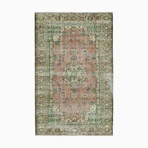 Grüner Türkischer Handgeknüpfter Vintage Teppich