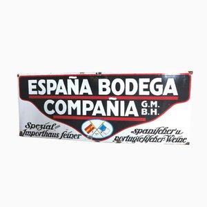 Cartel publicitario de vino español y portugués grande de Frankfurter Emaillierwerke