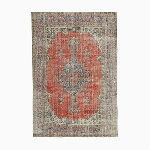 Red Anatolian Low Pile Hand Knotted Large Vintage Carpet