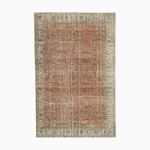 Red Oriental Contemporary Hand Knotted Large Vintage Carpet
