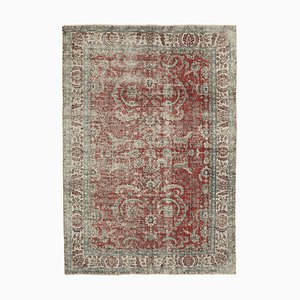 Red Anatolian Wool Hand Knotted Large Vintage Carpet