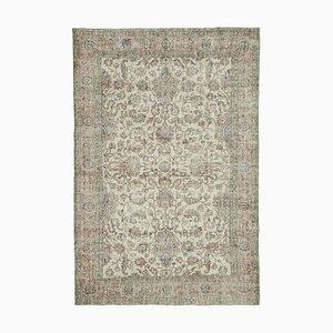 Beige Oriental Wool Hand Knotted Large Vintage Carpet