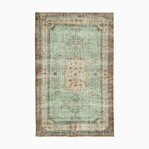 Grüner Türkischer Handgeknüpfter Handgeknüpfter Vintage Teppich