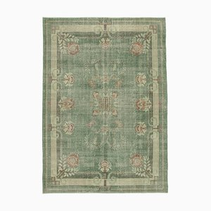 Green Anatolian Low Pile Hand Knotted Large Vintage Carpet