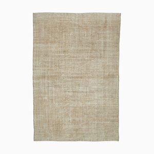 Beige Oriental Low Pile Hand Knotted Large Vintage Carpet