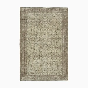 Beige Anatolian Low Pile Hand Knotted Large Vintage Carpet