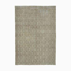 Beige Turkish Low Pile Handmade Large Vintage Carpet