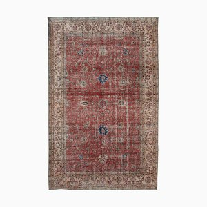 Red Turkish Contemporary Handmade Large Vintage Carpet