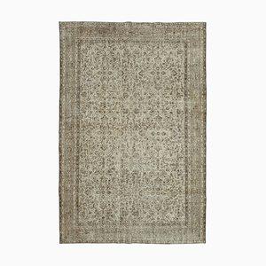 Beige Turkish Traditional Handmade Large Vintage Carpet