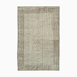 Beige Anatolian Contemporary Hand Knotted Large Vintage Carpet