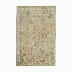 Beige Anatolian Traditional Hand Knotted Large Vintage Carpet