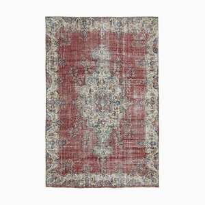 Red Anatolian  Contemporary Hand Knotted Large Vintage Carpet