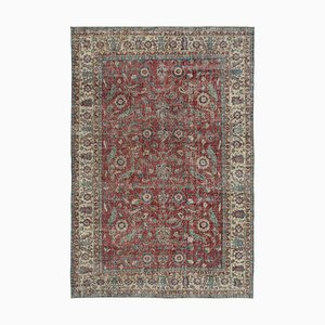 Red Oriental Wool Hand Knotted Large Vintage Carpet