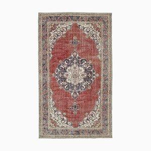 Red Turkish Wool Handmade Large Vintage Carpet