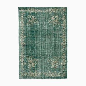 Green Turkish Antique Handmade Large Vintage Carpet