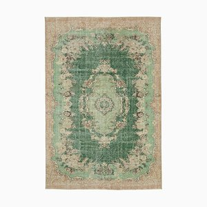 Green Anatolian Wool Hand Knotted Large Vintage Carpet