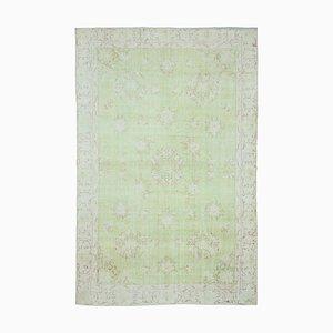 Grüner Orientaler Handgeknüpfter Vintage Vintage Teppich