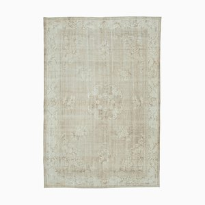 Beige Oriental Decorative Hand Knotted Large Vintage Carpet