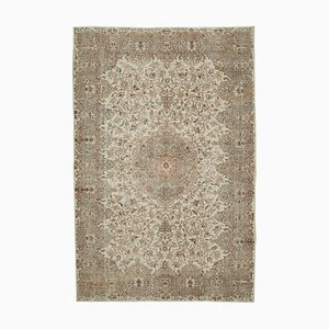 Beige Oriental Contemporary Hand Knotted Large Vintage Carpet