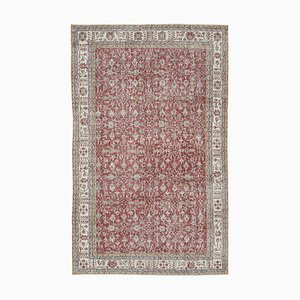Red Oriental Low Pile Hand Knotted Large Vintage Carpet