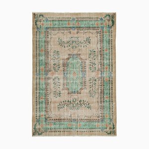 Green Oriental Wool Hand Knotted Large Vintage Carpet
