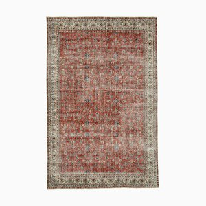 Red Oriental Decorative Hand Knotted Large Vintage Carpet