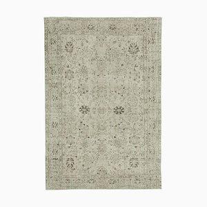 Beige Turkish Antique Handmade Large Vintage Carpet