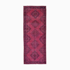 Fuchsia Turkish Antique Handmade Overdyed Runner Carpet