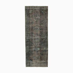 Black Turkish Low Pile Handmade Overdyed Runner Carpet
