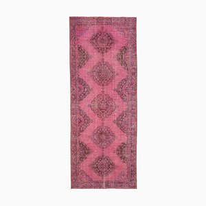 Pink Anatolian  Antique Hand Knotted Overdyed Runner Carpet