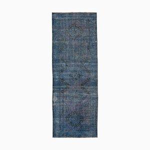 Blue Turkish Wool Handmade Overdyed Runner Carpet