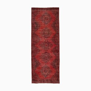 Red Anatolian  Antique Hand Knotted Overdyed Runner Carpet