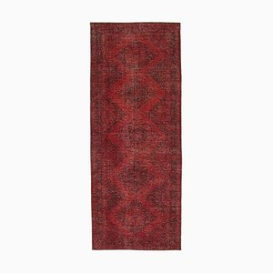 Red Anatolian Low Pile Hand Knotted Overdyed Runner Carpet