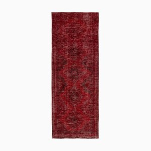 Red Oriental Wool Hand Knotted Overdyed Runner Carpet