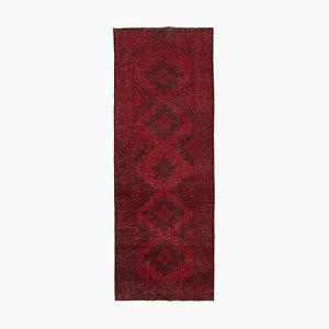 Red Oriental Antique Hand Knotted Overdyed Runner Carpet