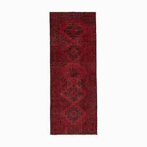Vintage Red Oriental Hand Knotted Overdyed Runner Carpet