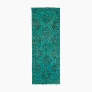 Turquoise Turkish Antique Handmade Overdyed Runner Carpet