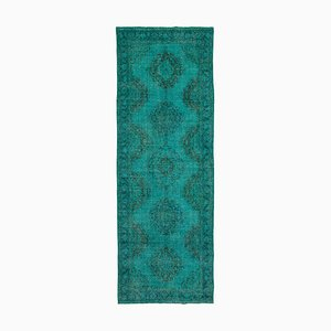 Turquoise Turkish Traditional Handmade Overdyed Runner Carpet