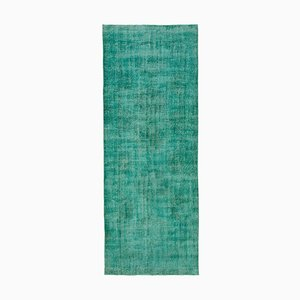 Turquoise Anatolian Antique Hand Knotted Overdyed Runner Carpet
