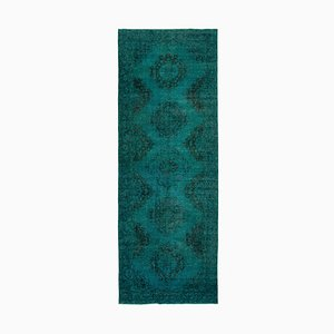 Turquoise Anatolian Low Pile Hand Knotted Overdyed Runner Carpet