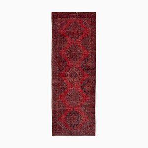 Red Anatolian Decorative Hand Knotted Overdyed Runner Carpet