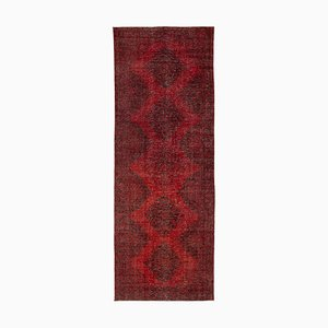 Red Oriental Low Pile Hand Knotted Overdyed Runner Carpet