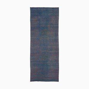 Vintage Turkish Blue Handmade Overdyed Runner Carpet