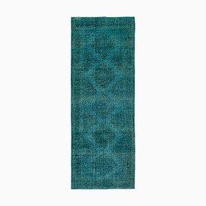 Türkiser Handgewebter anatolischer Teppich aus Wolle in Eingefärbten Farben