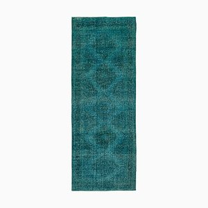 Turquoise Anatolian Wool Hand Knotted Overdyed Runner Carpet