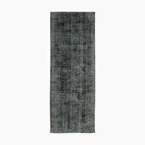 Vintage AnatolianBlack Hand Knotted Overdyed Runner Carpet
