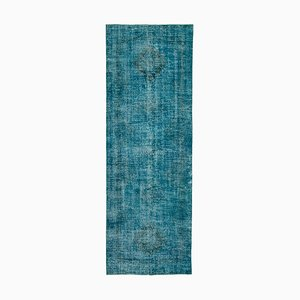 Turquoise Oriental Wool Hand Knotted Overdyed Runner Carpet