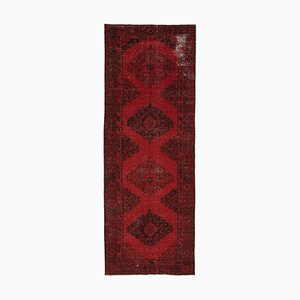 Red Oriental Traditional Hand Knotted Overdyed Runner Carpet